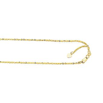 10k Yellow Gold 1.5mm Shiny Sparkle-Cut Adjustable Sparkle Chain Lobster Clasp Necklace - 22 Inch