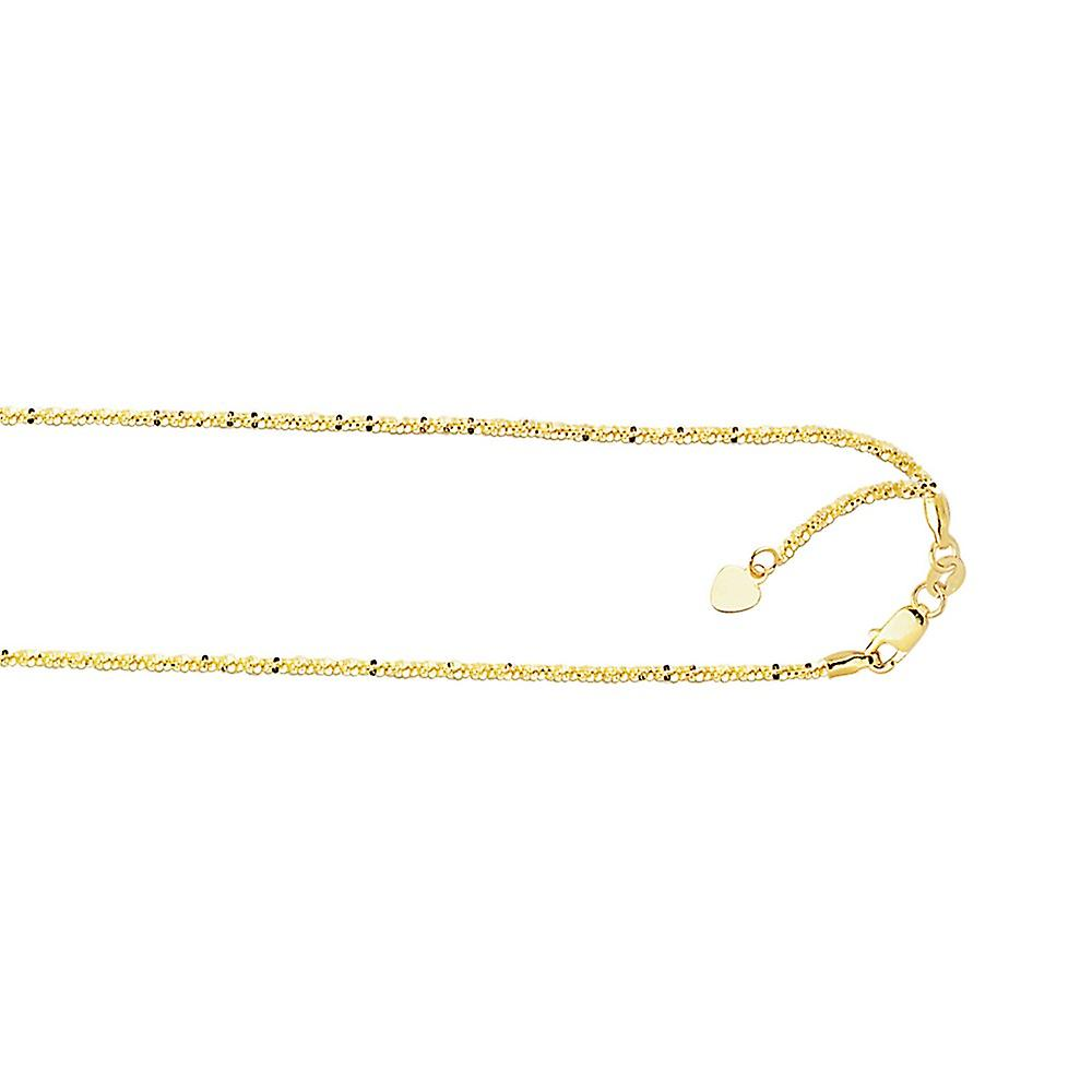 10k jaune or 1.5mm Shiny Sparkle-Cut Adjustable Sparkle Chain Lobster Clasp Necklace - 22 Inch