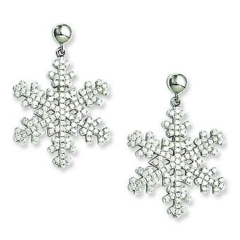 Sterling Silver and CZ Brilliant Embers Snowflake Dangle Post Earrings