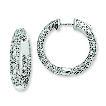 Sterling Silver .50 inch diameter CZ Hoop Earrings