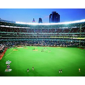 Riverfront Stadium as the players take the field during batting practice in the 1990 World Series between the Cincinnati Reds and the Oakland Athletics Photo Print