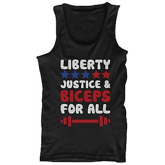 Canotta nera maschile - libertà giustizia e bicipiti per tutti