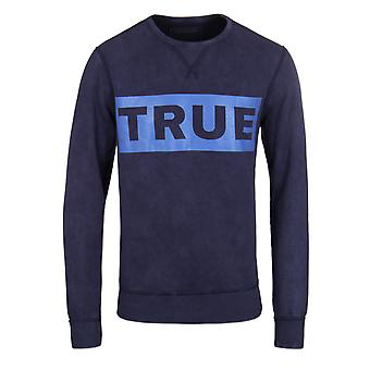 True Religion Logo Indigo Blue Crew Neck Sweatshirt