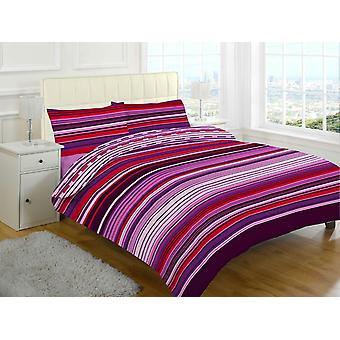 Stripes 4 Pcs Printed Duvet Cover + Valance Sheet Complete Bedding Set