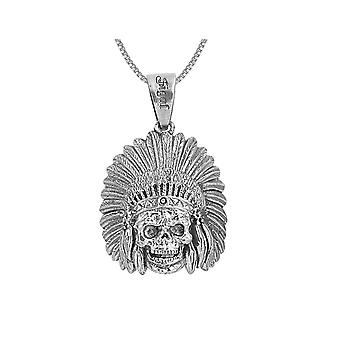 David Sigal Indian Skull Pendant Necklace in Stainless Steel