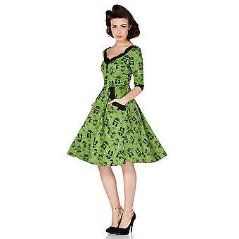 Voodoo Vixen - KATNIS - Women's Skater Style Dress, Green