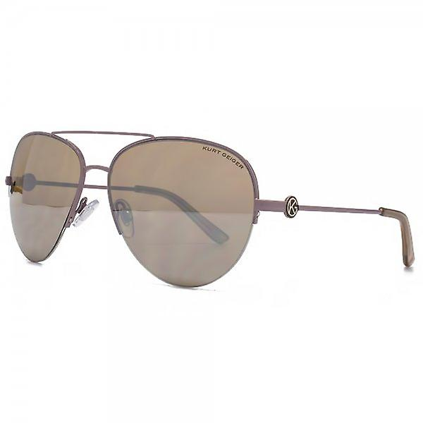 Kurt Geiger Grace Semi Rimless Aviator Sunglasses In Taupe Silver Mirror