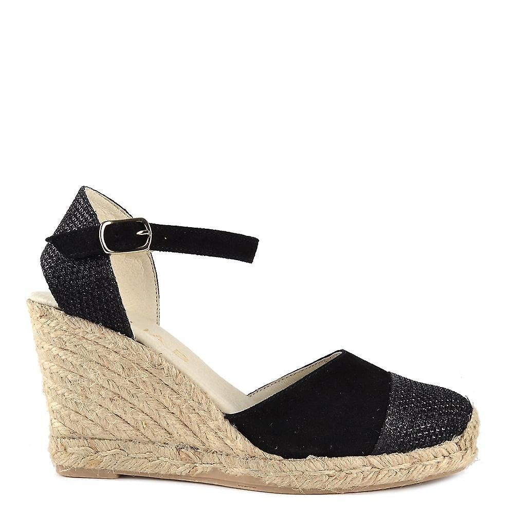 Elia B Shoes Nani Black Sandal<Exquisite<Man/Woman Suede Wedge Sandal<Exquisite<Man/Woman Black 1bff5b