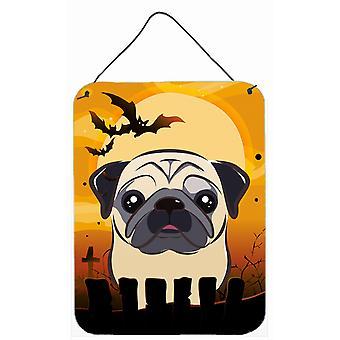 Carolines Treasures  BB1820DS1216 Halloween Fawn Pug Wall or Door Hanging Prints