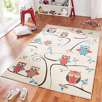 Design suede play mat for kids OWL beige blue red 140 x 200 cm