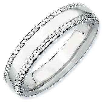 Sterling Silver Polished Patterned Rhodium-plated Stackable Expressions Rhodium Ring - Ring Size: 5 to 10