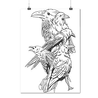 Matte or Glossy Poster with Four Scary Raven | Wellcoda | *d1275