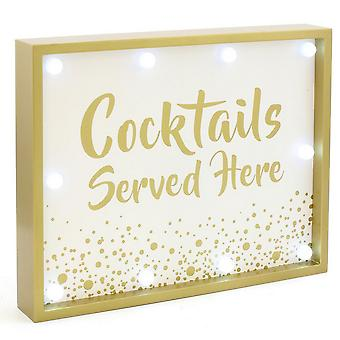 Cocktails Served Here LED Wooden Plaque Sign