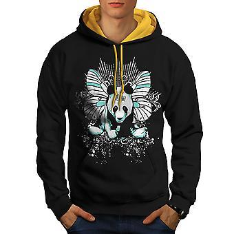 Panda Butterfly menn svart (gull Hood) kontrast Hettegenser   Wellcoda