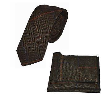 Luxury Dark Olive Green Herringbone Check Tie & Pocket Square Set, Tweed