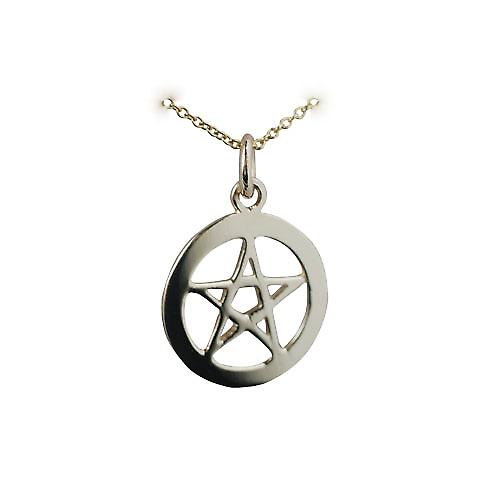 9ct Gold 19mm plain Pentangle in a circle Pendant with a cable Chain 16 inches Only Suitable for Children