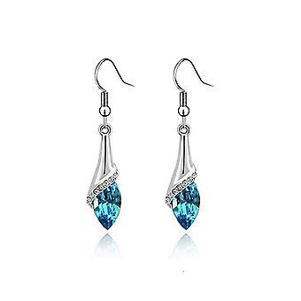 Womens Sky Blue Stone Leaf Fold Drop Earrings