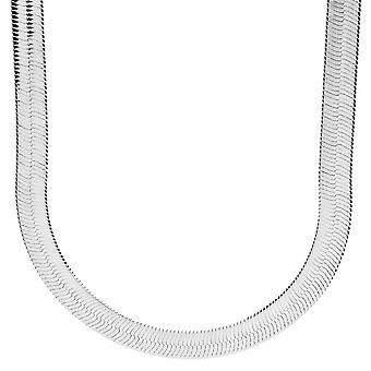 Iced out bling HERRING BONE hip hop chain - 8 mm silver