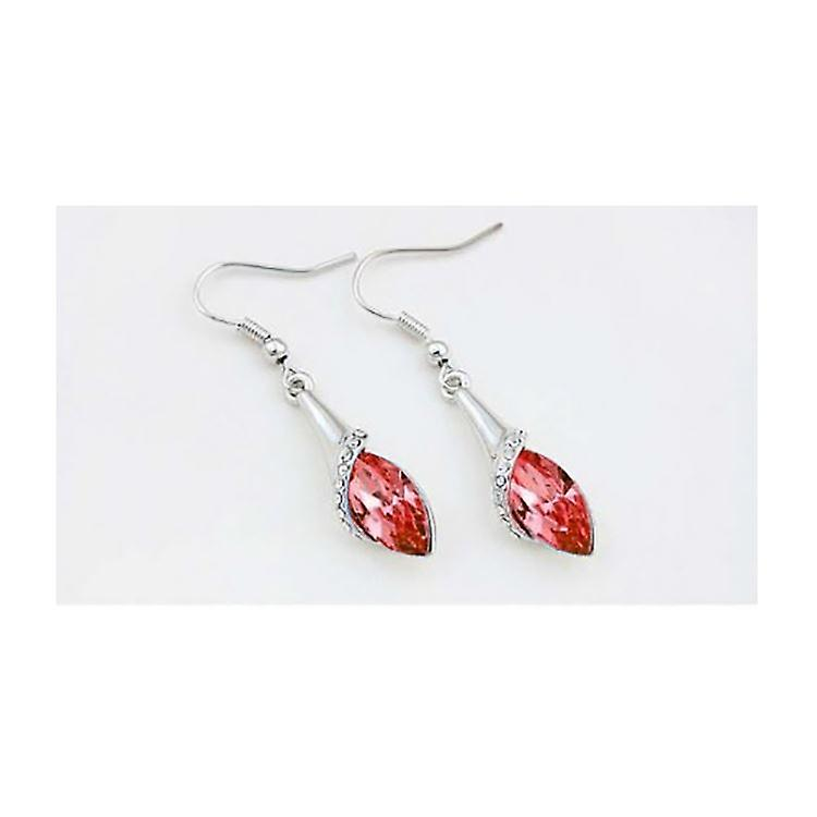 Womens Red Stone Leaf Earrings Crystal Stone BGCW35