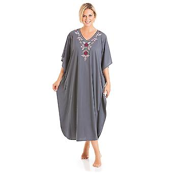 Ladies One Size Kaftans Embroidered Neckline Lace Edging Full Length 812