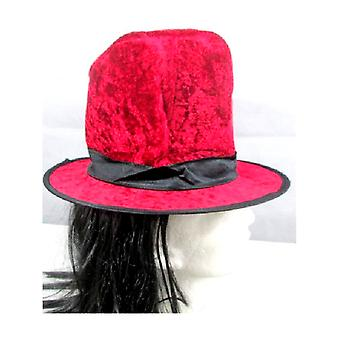 Red Top Hat with Attached Hair