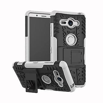 Hybrid Case 2teilig Robot Weiß für Sony Xperia XZ2 Compact Tasche Hülle Cover Schutz