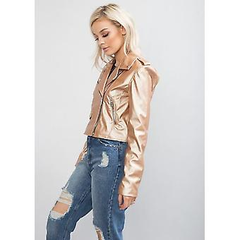 Cropped Faux Leather Biker Jacket Gold