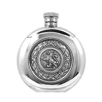 Scotland Lion Rampant Badge Round Pewter Flask - 6oz