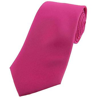 David Van Hagen Satin Silk Tie - Fuschia