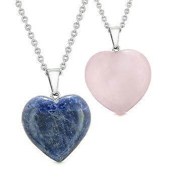 Amuletter heldig oppustede hjerter elsker par eller bedste venner sat sodalit rosenkvarts vedhæng halskæde