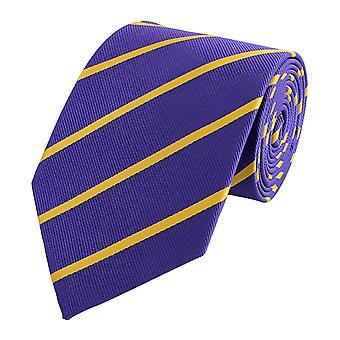 Schlips Krawatte Krawatten Binder 8cm lila gelb gestreift Fabio Farini