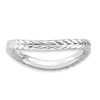 2,25 mm argent Sterling plaqué Rhodium empilable Expressions polies Rhodium-plaque Wave Ring - anneau taille: 5 à 10