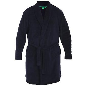 D555 Mens Enno King Size Big Tall Super Soft Loungewear Dressing Gown Robe- Navy