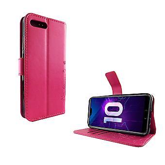 Huawei Honor 10 Handy-Hülle Schutz-Tasche Cover Flip-Case Kartenfach Pink