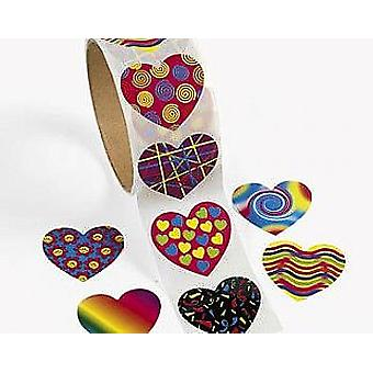 Roll of 100 Heart Stickers for Kids Crafts | Childrens Craft Stickers