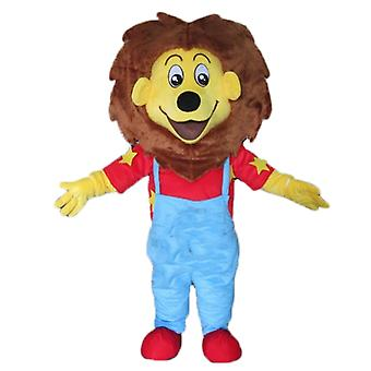 mascot SPOTSOUND little lion yellow and Brown, blue and red outfit