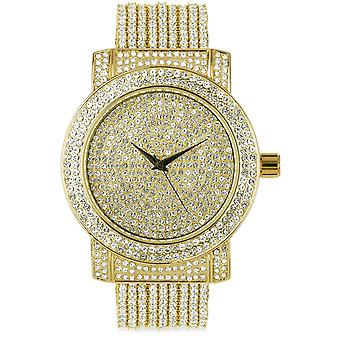 High quality FULL ICED OUT cubic ZIRCONIA watch - gold
