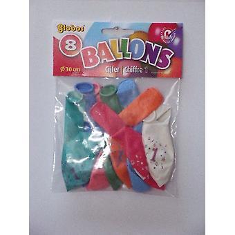 Ballonnen cijfer 1 no. 12 eenzijdig 5 zakjes met 8 stuks