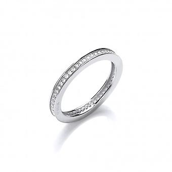Cavendish French Silver and CZ  Single Row Stacking Ring