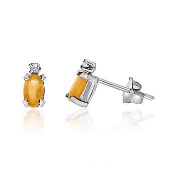 14K White Gold Oval Citrine and Diamond Earrings