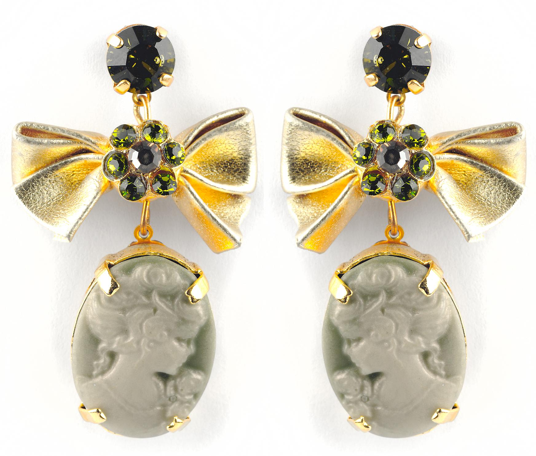 Waooh - Jewellery - WJ0690 - earrings with Swarovski Strass Green - Frame Color Gold - Pendant Face