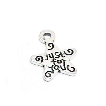 Packet 50+ Antique Silver Tibetan 14mm Just For You Charm/Pendant HA08850