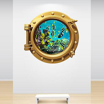Full Colour Aquarium Fish Tank Brass Gold Porthole Wall Sticker