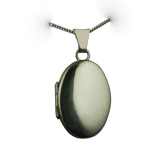 18ct White Gold 22x15mm oval plain Locket with a curb Chain 16 inches Only Suitable for Children
