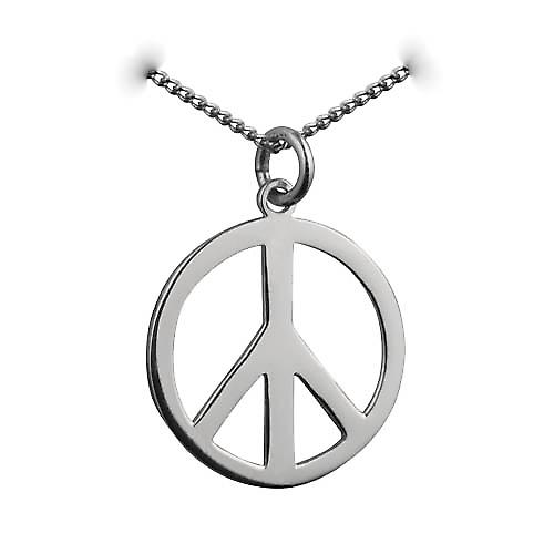 Silver 23mm round plain Ban the Bomb Pendant with a curb chain
