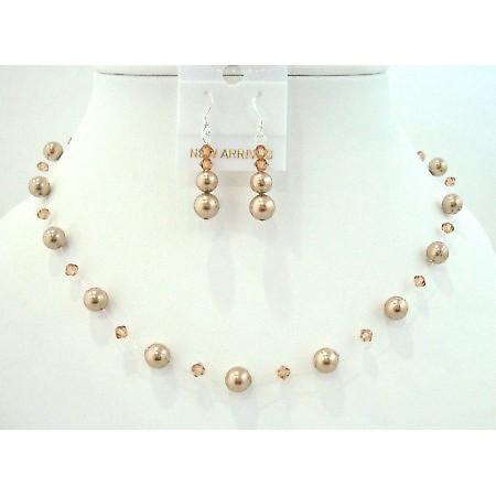 Lite Smoked Topaz Crystals Bronze Pearl Jewelry Set Swarovski Necklace