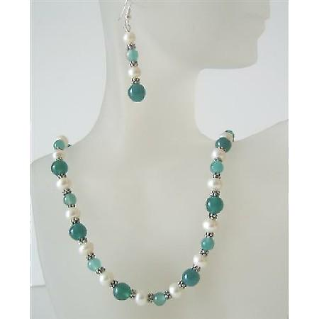 Jade Glass Bead Freshwater Pearl Handcrafted Necklace Set Custom Genuine Bead Jewelry Set Earrings