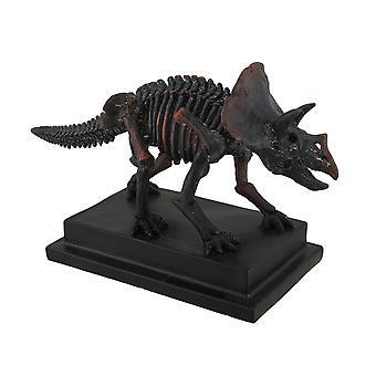 Antikk bronse Finish montert Triceratops skjelett statuen