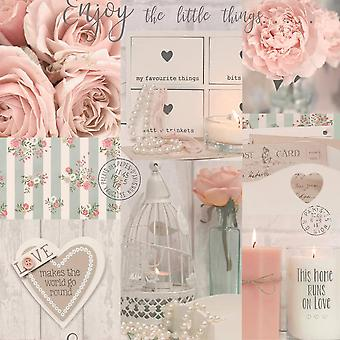 Diamond Rose Floral Glitter Wallpaper Collage Candles Pearls Pink Teal Vinyl
