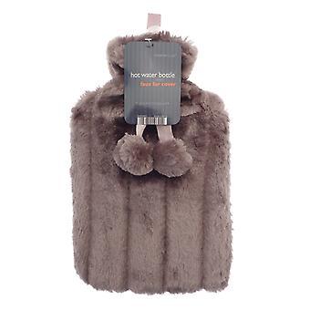 Cosy Faux Fur Pom Pom 2L Hot Water Bottle: Mocha